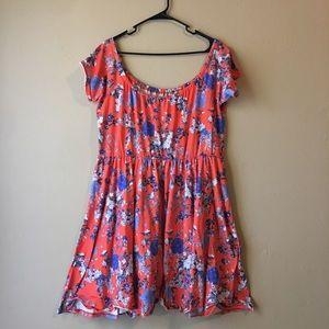 Orange & Blue Bird/Floral Off-the-Shoulder Dress